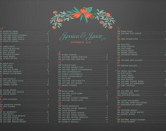 Blackboard floral wedding seating chart chalkboard poster DIY 24 hour turnaround