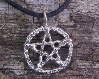 Rustic Nugget Style Pentacle in Sterling Silver