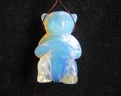 Carved Opalite Bear Pendant Bead,41x27x17mm,23.02g