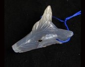 Carved Blue Lace Agate Wolf Head Pendant Bead,28x39x14mm,14.14g
