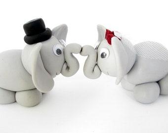 Elephant wedding cake topper, bride and groom