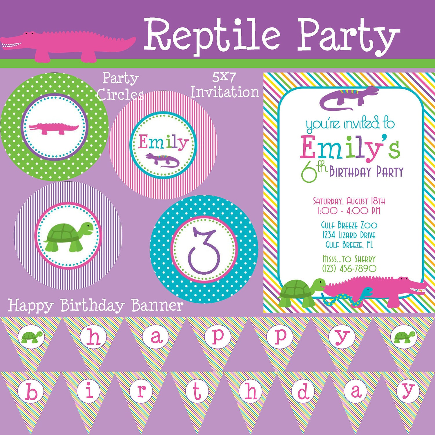 Reptile Girl Essentials Birthday Party Package Girl DIY