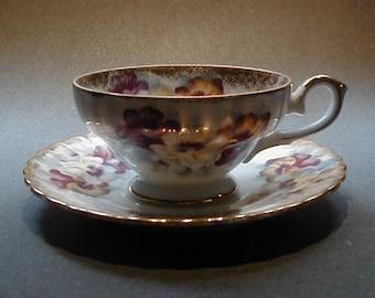 Royal Sealy Tea Cup and Saucer Pansy Japan