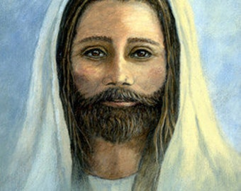 CARD, Jesus, note card, Scripture, Ellen Strope, art, blue, Savior, matte card, greeting card, paper goods