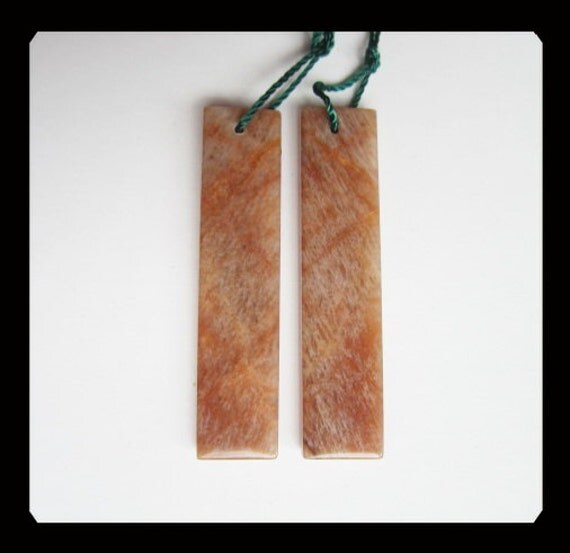 Orange Rainbow SunStone Earring Bead,9x40x3mm,5.57g