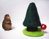Christmas Tree and Tiny Toadstool - Needlefelted