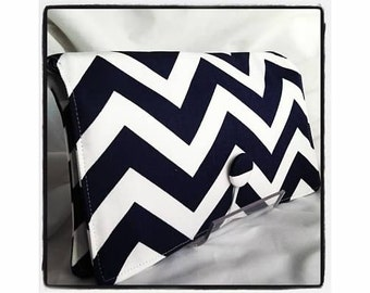 Diaper Wipe Clutch- Navy Blue Chevron-  Organize your Diaper Bag