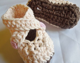 Baby Booties, Baby Girl Booties, Baby Shoes, Cross Strap Shoes, Cotton Booties, Peach and Brown,