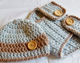 Baby Beanie Hat and Diaper Cover set crocheted in Silver Blue and Brown