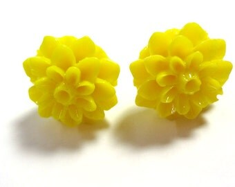 Bright Yellow Chrysanthemum Post Earrings