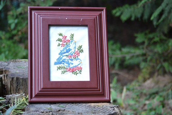 Reserved - Framed Hand Embroidery // Bluebirds // Woodland Home Decor