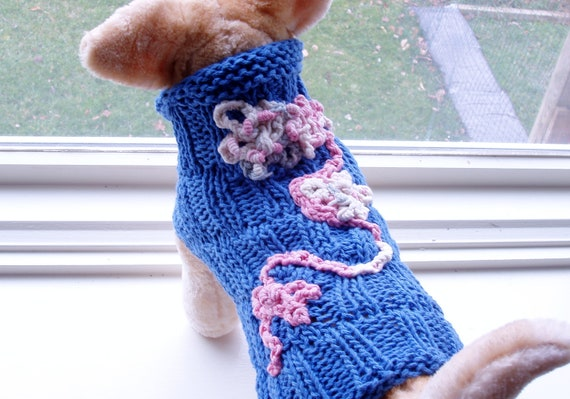 Dog Sweater Hand Knit All Seasons Bouquet Garden Small