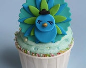 Peacock Fondant Cupcake Toppers