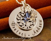 Hand Stamped Mommy Jewelry - Sterling Silver Personalized Mommy Necklace - Family Tree Pendant - My Family (Small)