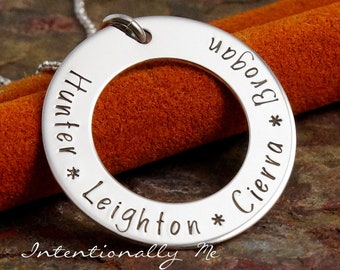 Personalized Jewelry - Hand Stamped Mommy Necklace - Solo Family Washer with kids names