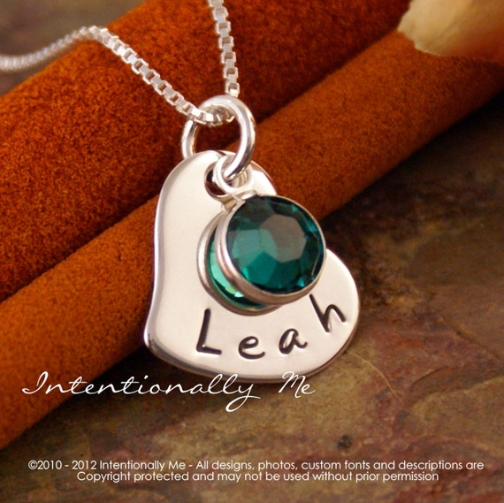 Personalized Jewerly - Hand Stamped Mommy Necklace - Sterling Silver Small Heart with Birthstone