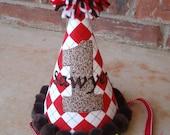 Red Argyle Sock Monkey Birthday Party Hat