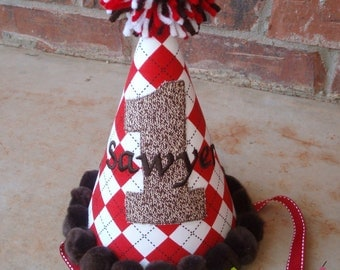 Red Argyle Sock Monkey Birthday Party Hat