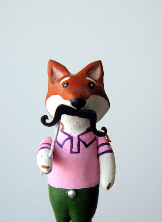 Fox Brooch Pin in Pink Shirt & Disguise, handmade