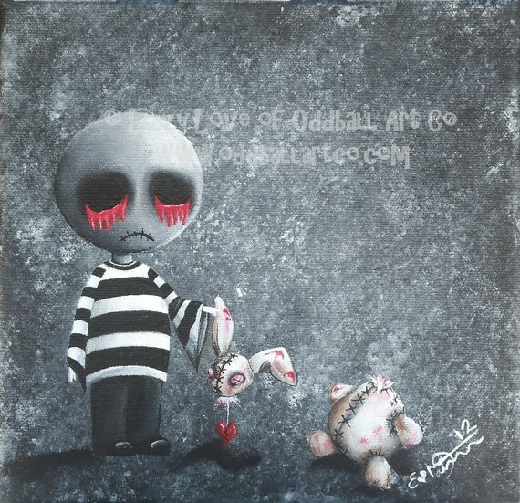 Big Eye Mixed Media Giclee Art Print Signed Reproduction Big Juicy Tears of Blood & Pain No. 9 Bye Bye Bunny by Lizzy Love [IMG#12]