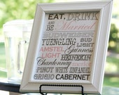 Printable Bar/Drink Menu Sign - Wedding