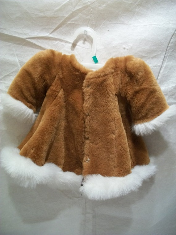 Handmade Vintage Fur Doll Coat Dress, Doll Clothes, Doll Dress, Fur Coat for Dolls,