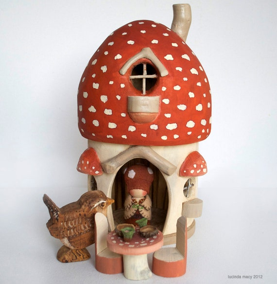 Large Autumn Mushroom Gnome Home with Table and Chairs