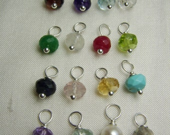 Add a Gemstone Birthstone - Gemstone Dangle - Birthstone Dangle for Personalized Initial Necklace or other MesmericJewelry Item