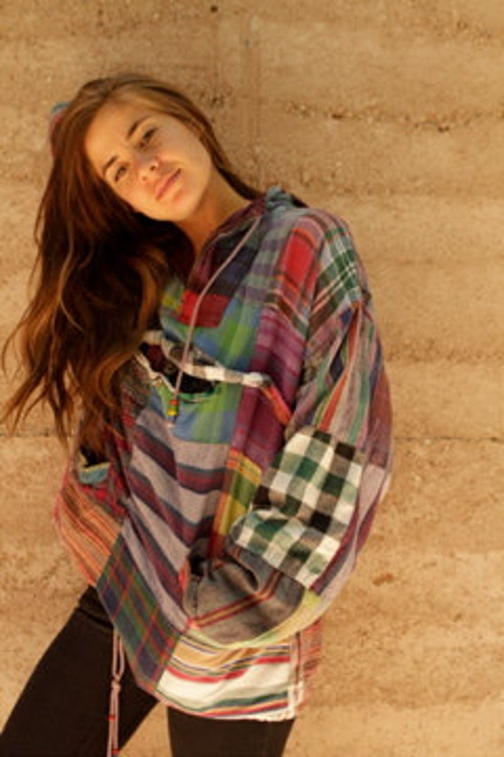 GRUNGE patchwork flannel TWIN peaks NIRVANA slouchy button up down blouse vintage 90s