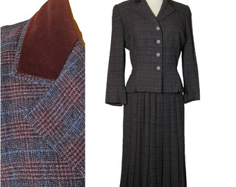 1950s  Plaid Skirt Suit  Nipped Waist Peplum Jacket Pleated Skirt GLENHAVEN Small XS