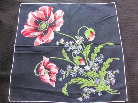 Beautiful Black Floral Cotton Hankie Handkerchief