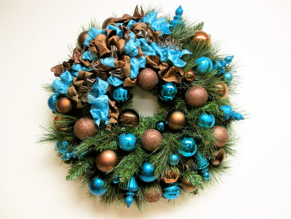 Items similar to christmas wreath bronze brown and