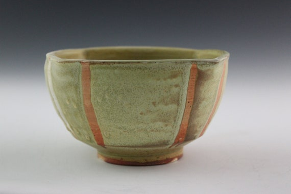 Medium Bowl Yellow Soda-Fired Squared Bowl Handmade Pottery Bowl- Cereal Bowl