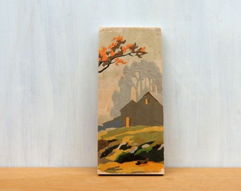 Paint by Number style Art Block 'Fall Barn Silhouette' - autumn, rural landscape, vintage art