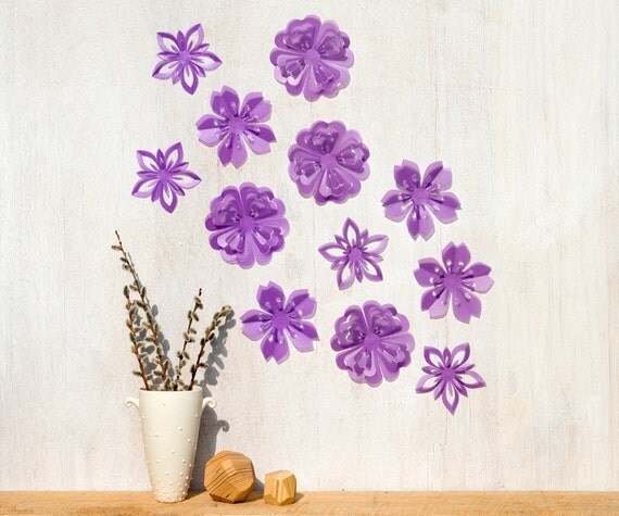 Flower Wall Decor Purple Blossoms, Pop-up Set of 12, Wall Art - Made in Canada