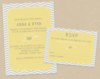 Printable Wedding Invite and RSVP Invitation Set Yellow and Grey Chevron Carved Initials