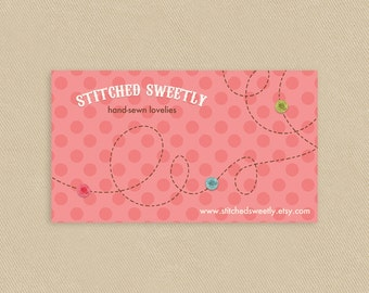 Printable Business Card Sweet Stitches On Pink Dots