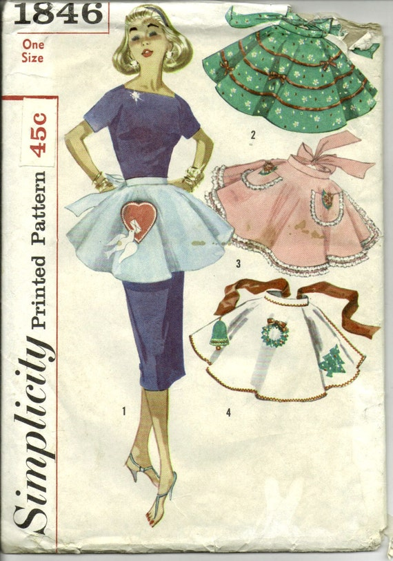 Vintage 1960s Simplicity Holiday Hostess Half Apron Pattern with Transfers Uncut