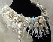 Rhinestone Fringe Necklace, Beaded Wedding Bib, Vintage Noir Bridal Collar, OOAK Haute Couture Accessory, La Marelle Couture, LAYAWAY PLANS