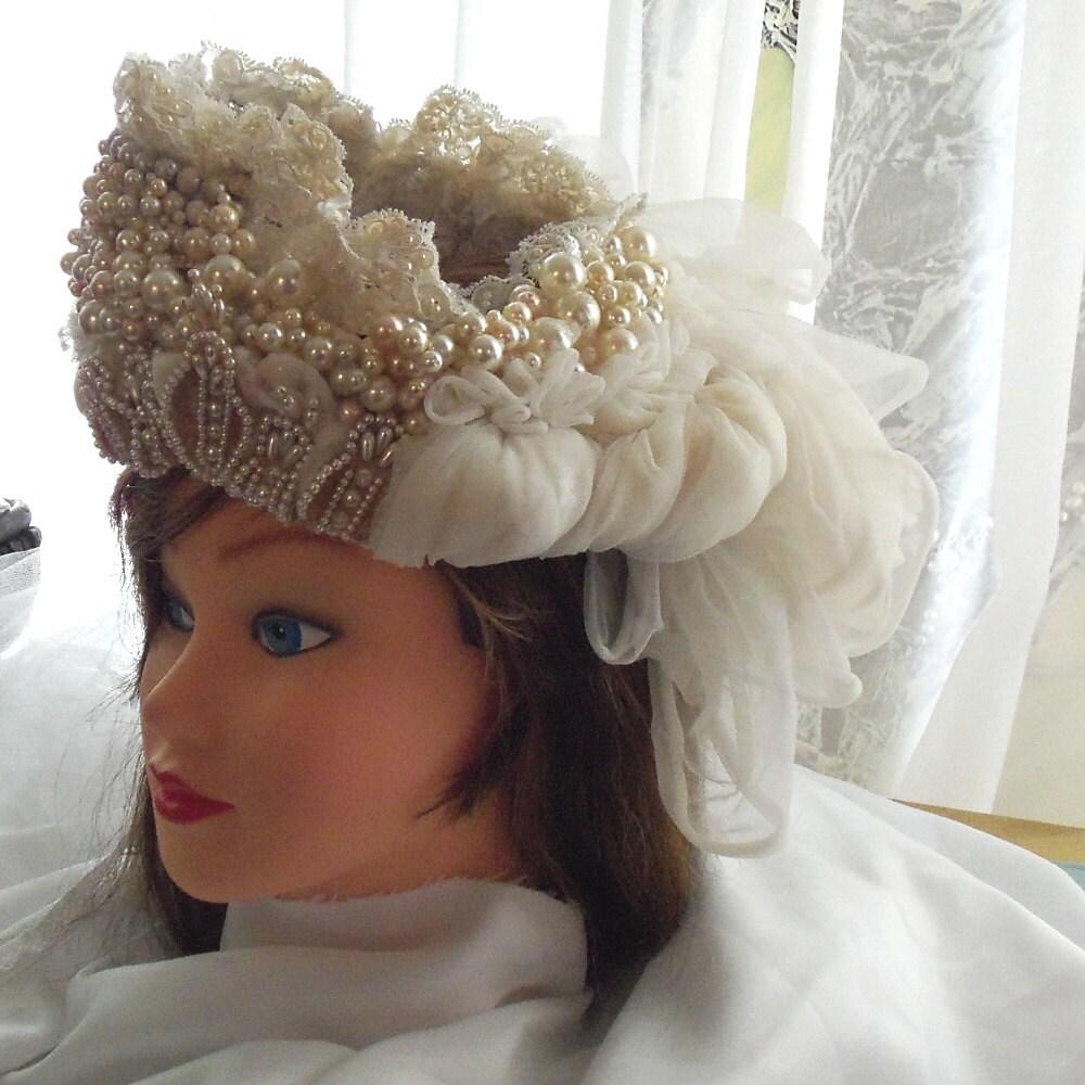 Unique Wedding Headpieces: Beaded Headpiece Bridal Veil With Unique Pearl By