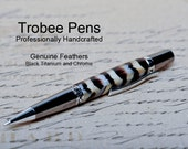 Custom pen made with feather ballpoint beautiful writing hand turned on a lathe