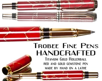 Handmade Red Rollerball Pen with gold trim handcrafted fine writing instrument hand turned ink pen beautiful in pen gift