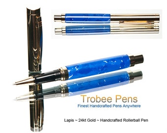 Pen - Rollerball Blue Lapis Custom Ink writing instrument well Balanced Easy to Write With Made by Hand with Care
