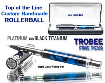 Executive gift, top of the line ROLLERBALL pen, blue handmade writing instrument