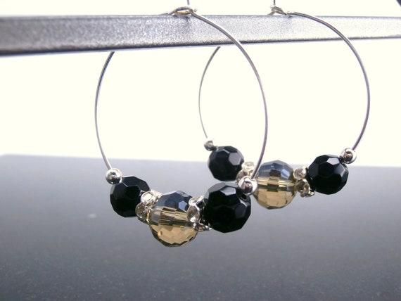 SALE was 12.00 now 6.00 Black Hoop Earrings Rhinestone Gray Winter Trends