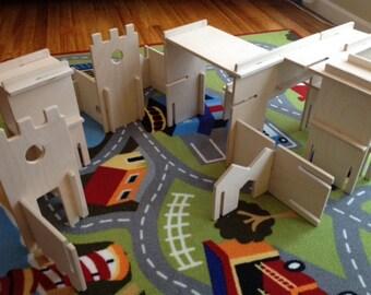 Wood DIY Building Kit Architect Castle or Dollhouse Play Set | Dollhouse Eco Friendly Handmade Wood Dollhouse | Wooden Toy Building Blocks
