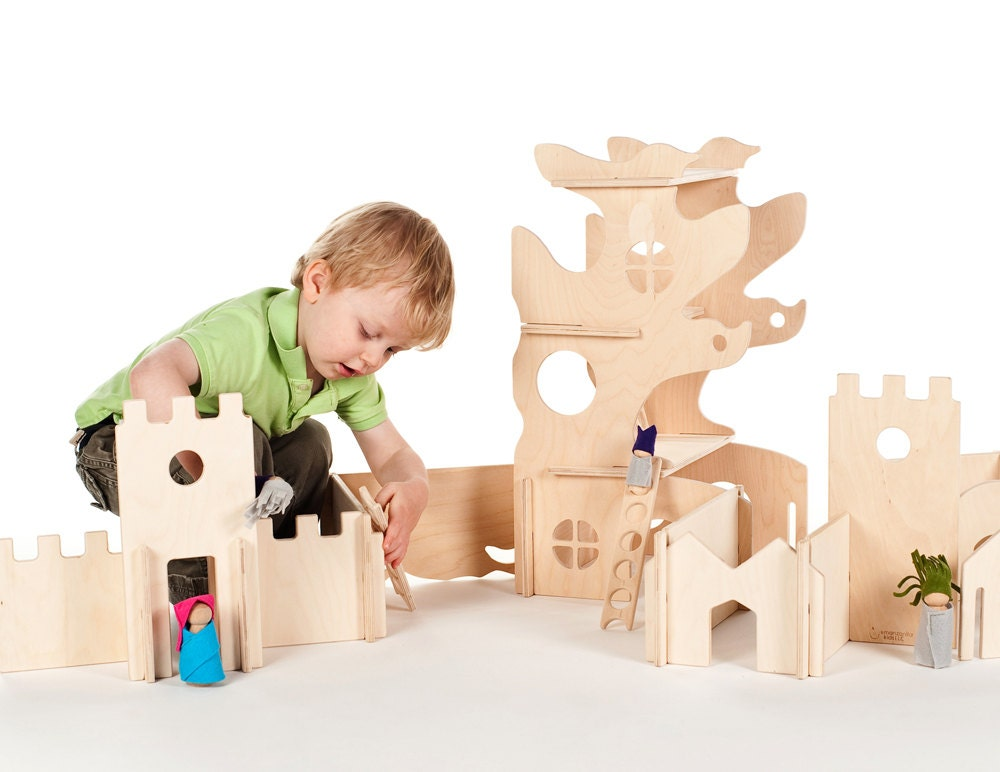 Wooden Toys For 1 Year Olds : Modular tree house and building walls natural wood