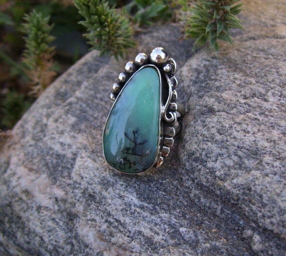 Chrysophrase Sterling Silver Ring