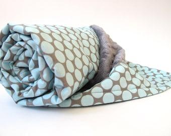 Baby Blanket - Blue and Grey  - Amy Butler - Lotus - Full Moon Polka Dot - Slate - Grey Minky Dot - 26 x 30