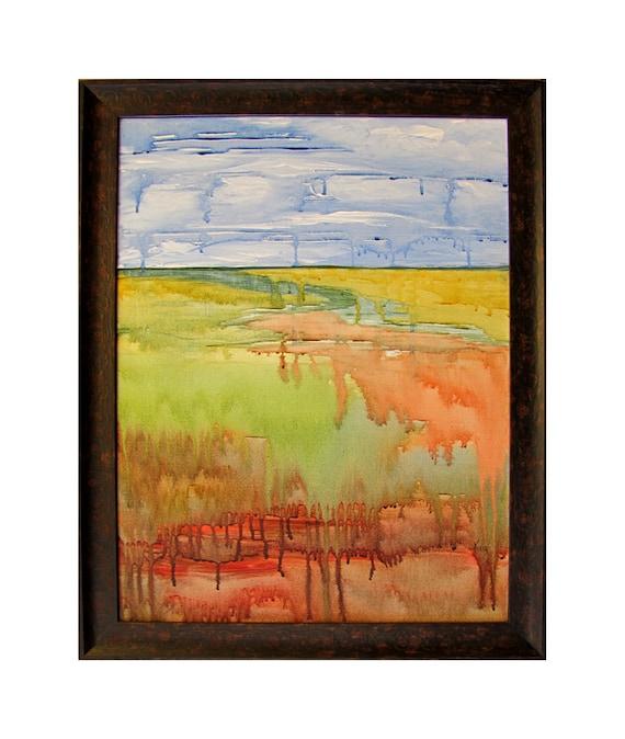 Framed Abstract Landscape Painting... Field with Stream...Original Modern Art...Paint Drips & Runs